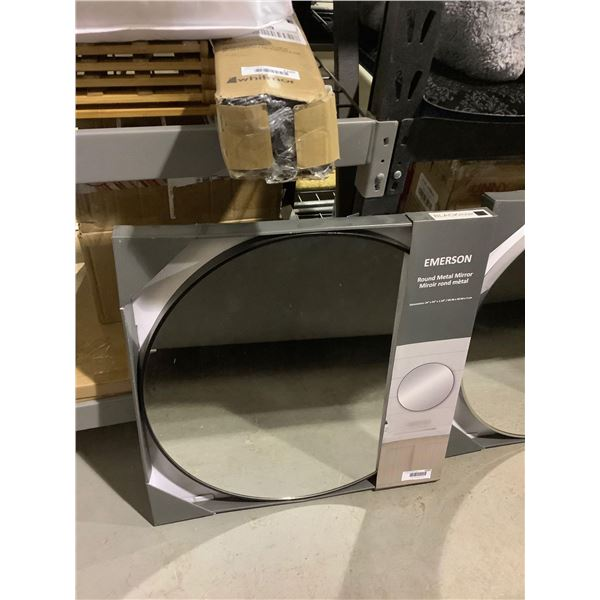 Emerson Round Metal Mirror - Black (24in x 24in)