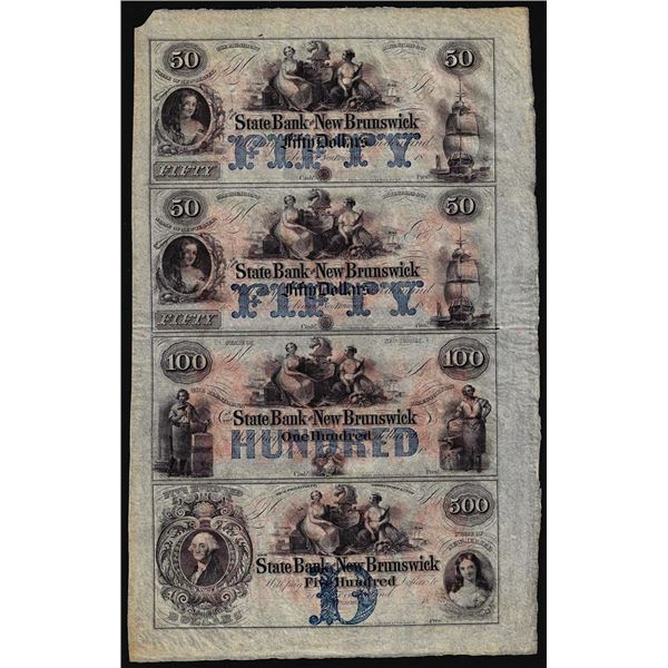 Uncut Sheet of $50/$50/$100/$500 The State Bank at New Brunswick, NJ Obsolete Notes