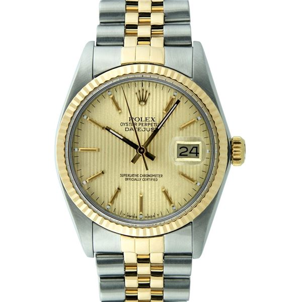 Rolex Mens Two Tone Champagne Tapestry Index 36MM Datejust Wristwatch