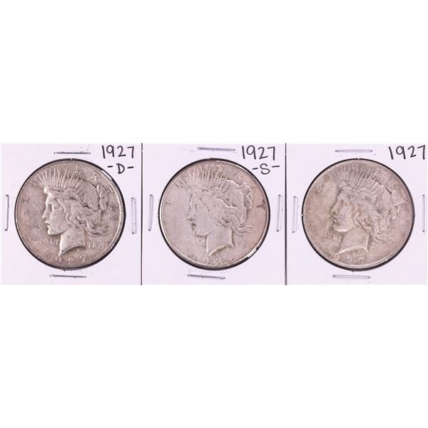 Lot of 1927, 1927-D, 1927-S $1 Peace Silver Dollar Coins