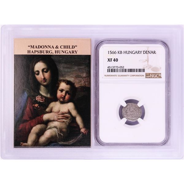 1566 KB Hungary Denar 'Madonna and Child' Coin NGC XF40 w/ Story Box