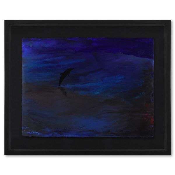 "Wyland ""Liquid Dolphin"" Original Watercolor on Paper"