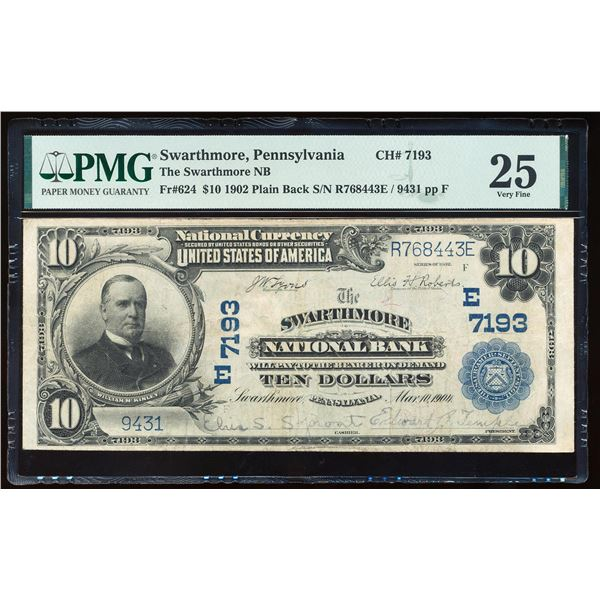 1902PB $10 Swarthmore NB, PA CH# 7193 National Currency Note PMG Very Fine 25