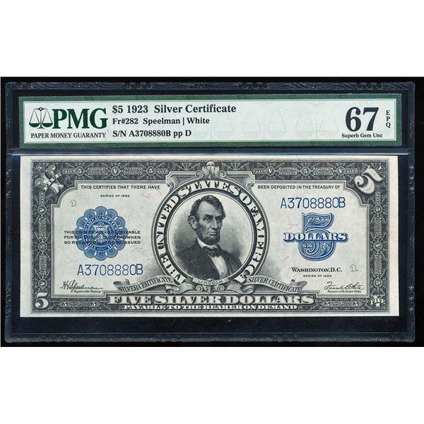 1923 $5 'Porthole' Silver Certificate Note Fr.282 PMG Superb Gem Uncirculated 67EPQ
