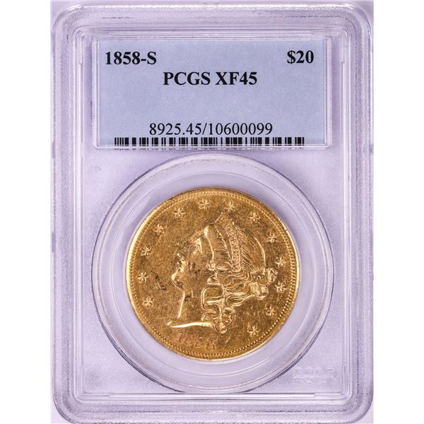 1858-S $20 Liberty Head Double Eagle Gold Coin PCGS XF45