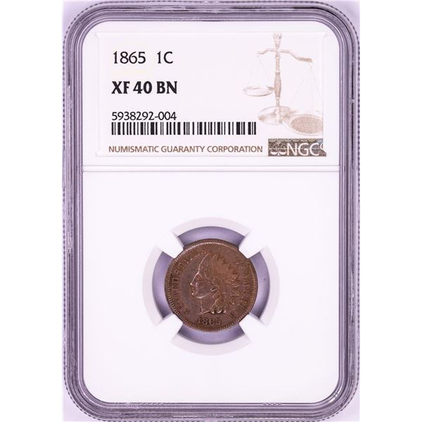 1865 Indian Head Cent Coin NGC XF40BN