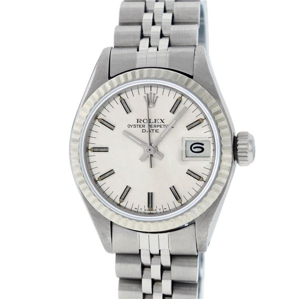 Rolex Ladies Stainless Steel Silver Index Datejust Oyster Perpetual Wristwatch