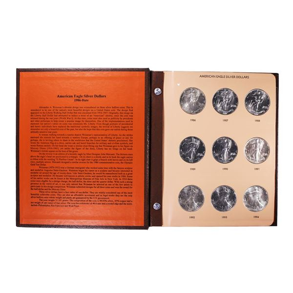 Set of 1986-2021 $1 American Silver Eagle Coins in Dansco Book