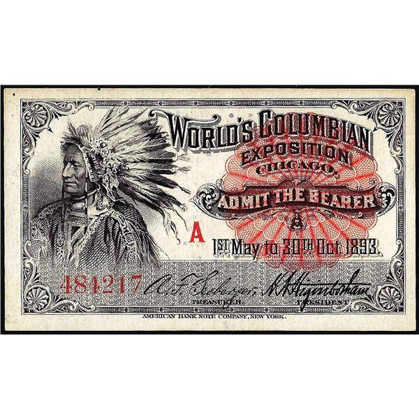 1893 World's Fair Columbian Exposition Ticket Indian Chief