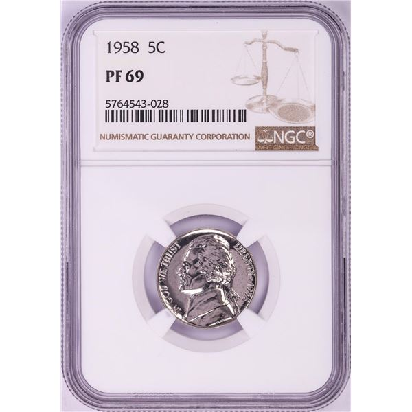 1958 Proof Jefferson Nickel Coin NGC PF69