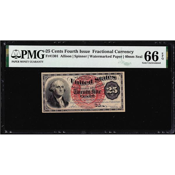 1863 Fourth Issue 25 Cent Fractional Currency Note Fr.1301 PMG Gem Uncirculated 66EPQ