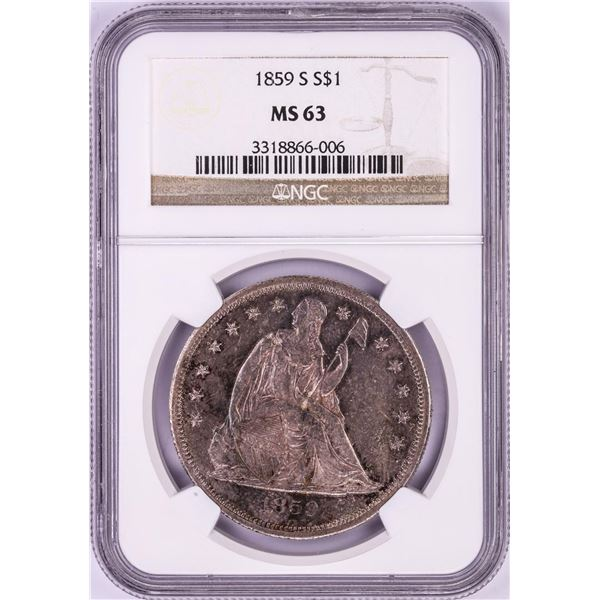 1859-S $1 Seated Liberty Silver Dollar Coin NGC MS63