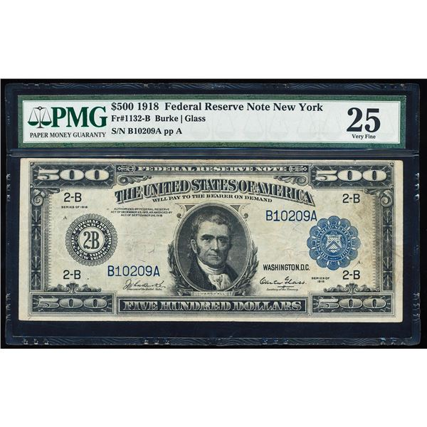1918 $500 Federal Reserve Note New York Fr.1132-B PMG Very Fine 25