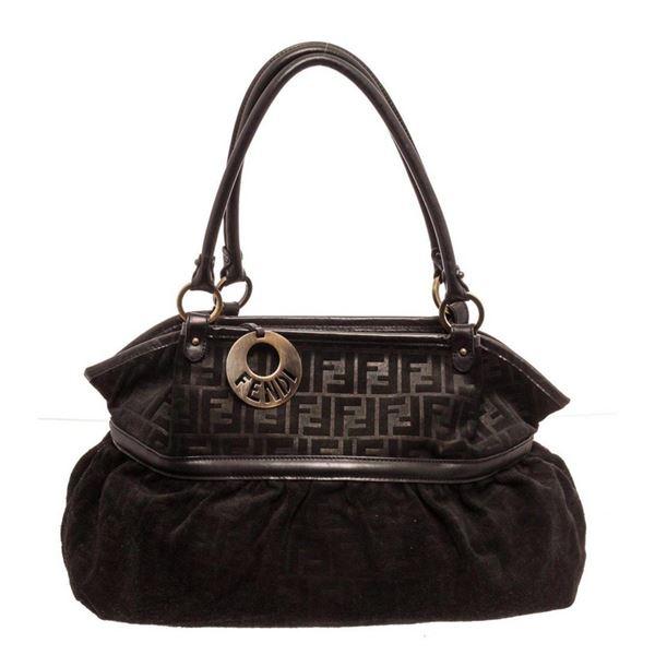 Fendi Black Chef Zucca Shoulder Bag