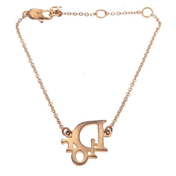 Christian Dior Gold Logo Pendant Necklace