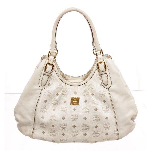 MCM White Monogram Hobo Bag