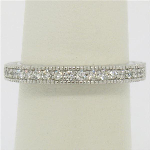 NEW 14k White Gold 0.17 ctw Round F VS1 Diamond Milgrain Etched Wedding Band Rin