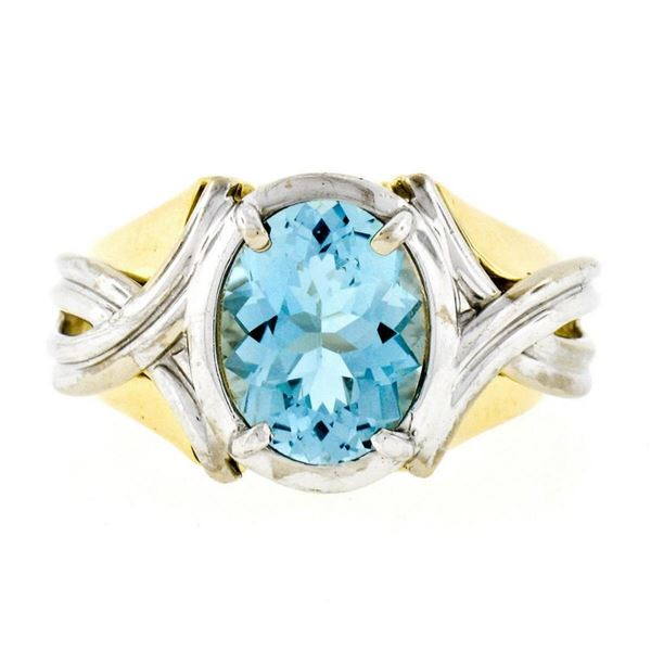 Estate 14kt Two Tone Gold 2.10 ctw Oval Aquamarine Grooved Cocktail Ring