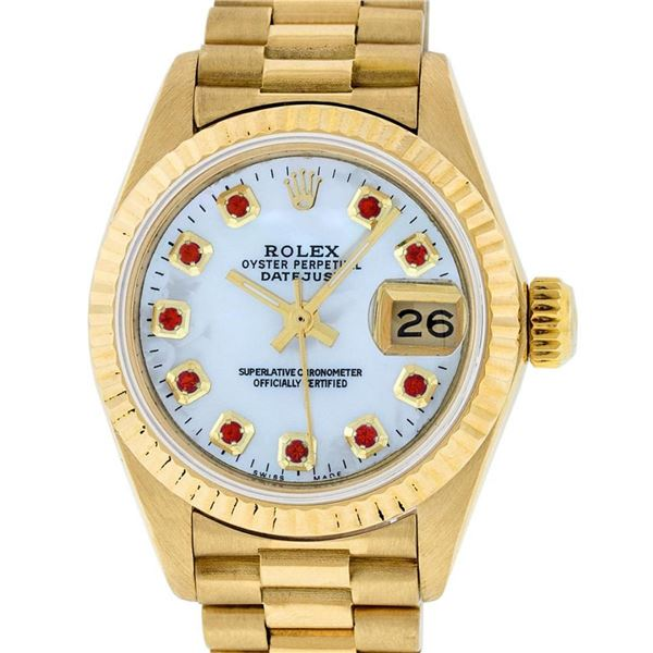 Rolex Ladies 18K Yellow Gold Mother Of Pearl Ruby Datejust President Wristwatch