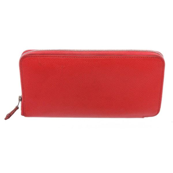 Hermes Red Sanguine Epsom Leather Silk'In Classic Wallet