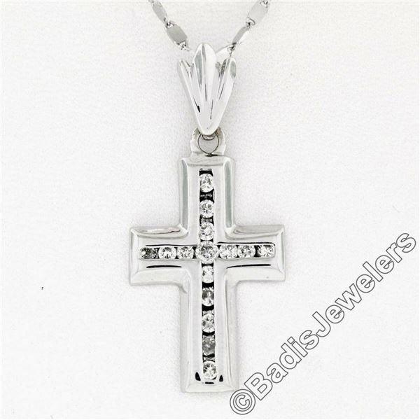 14kt White Gold 0.60 ctw Round Brilliant Diamond Cross Pendant Necklace