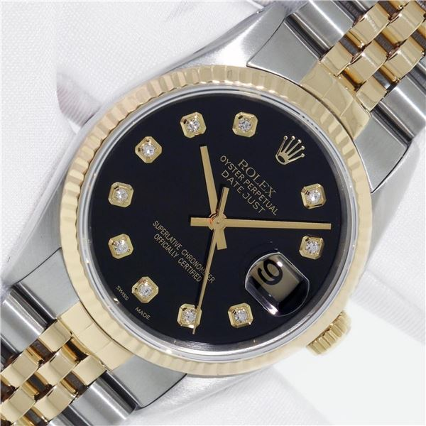 Rolex Datejust 36 Yellow Gold And SS Black Diamond VS Oyster Perpetual