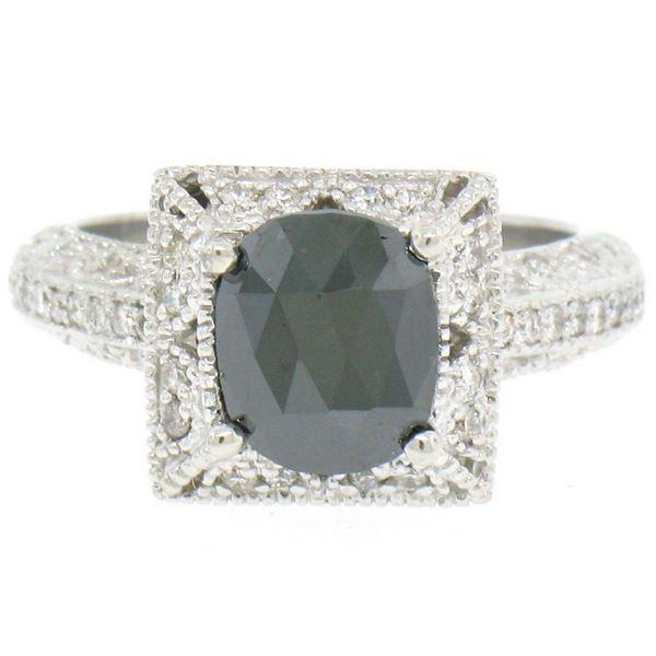 14k White Gold 2.10 ctw Cushion Black & Pav� Round White Diamond Solitaire Eng