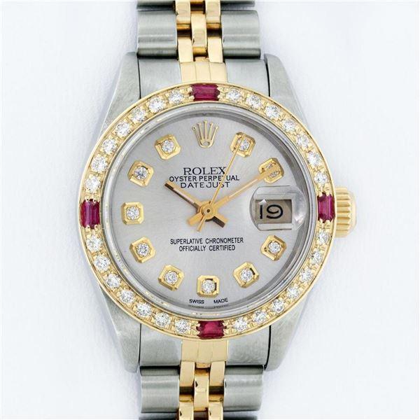 Rolex Ladies 2 Tone Silver Diamond & Ruby Oyster Perpetual Datejust Wristwatch