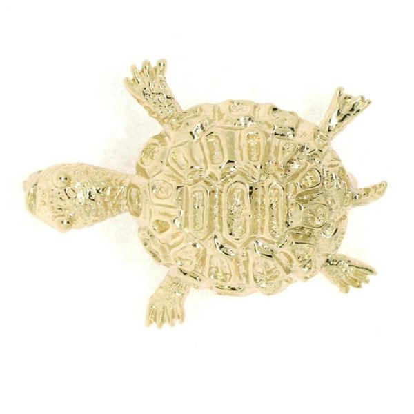 Petite 14K Yellow Gold Amazing Highly Detailed Textured Turtle Brooch Pin