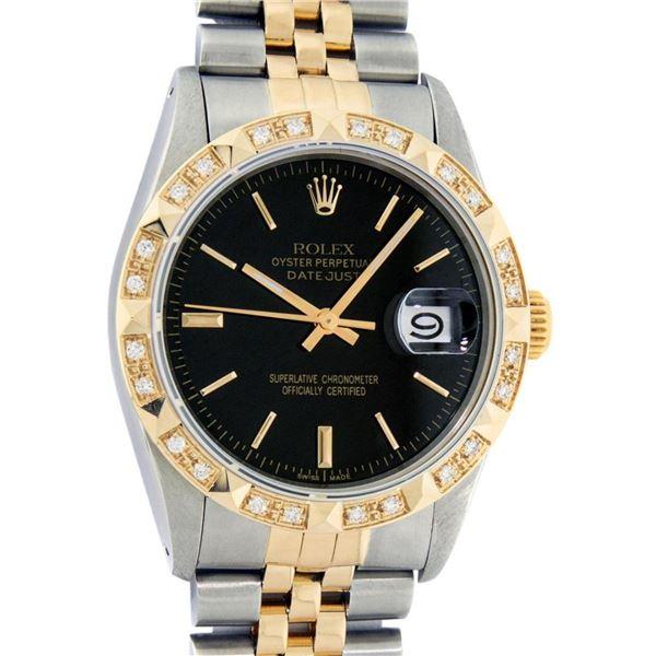 Rolex Mens 2 Tone Black Index Pyramid Diamond Bezel Datejust Wristwatch