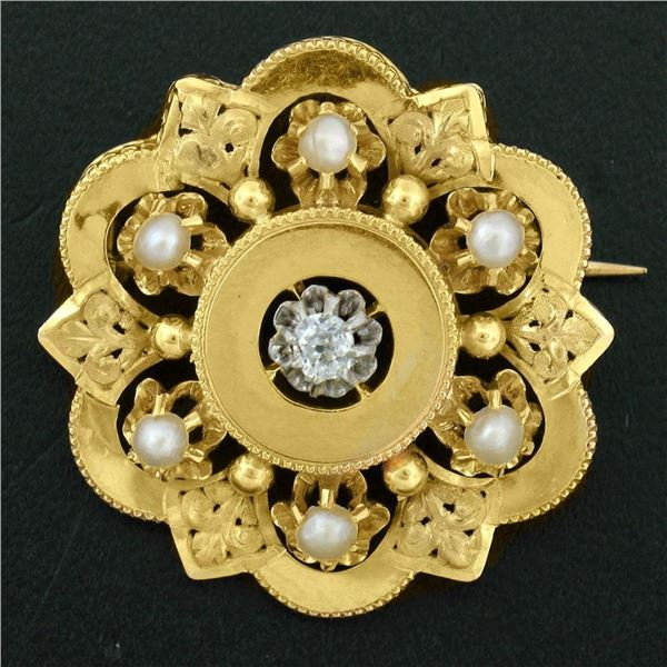 Antique Victorian 18K Yellow Gold Diamond Pearl Detailed Open Flower Brooch Pin
