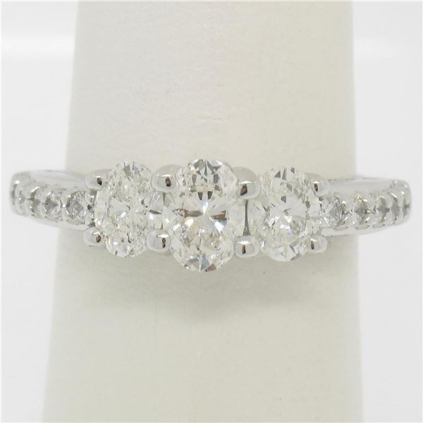 14k White Gold 1.50 ctw Oval 3 Stone Diamond Promise Engagement Ring w/ Accents