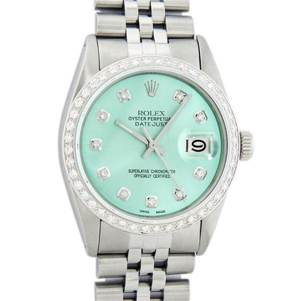 Rolex Mens Stainless Steel Blue Diamond 36MM Oyster Perpetual Datejust Wristwatc