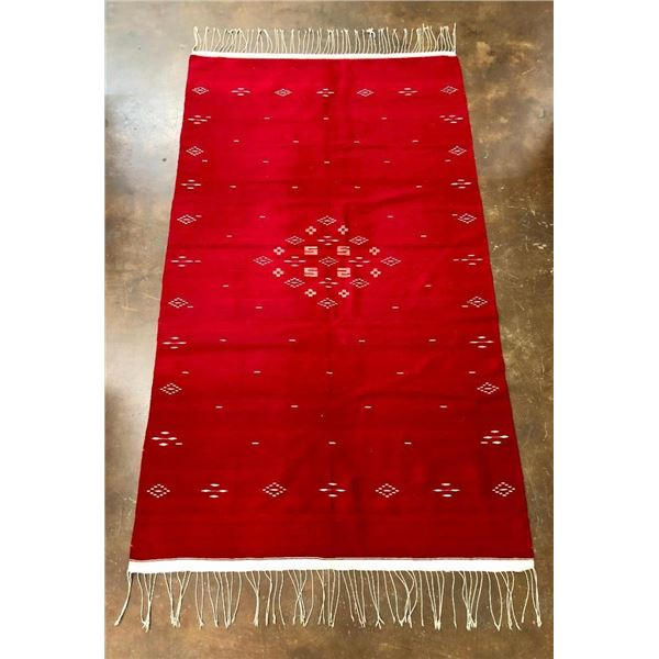 Fine Old Red and White Handmade Mexican Textile