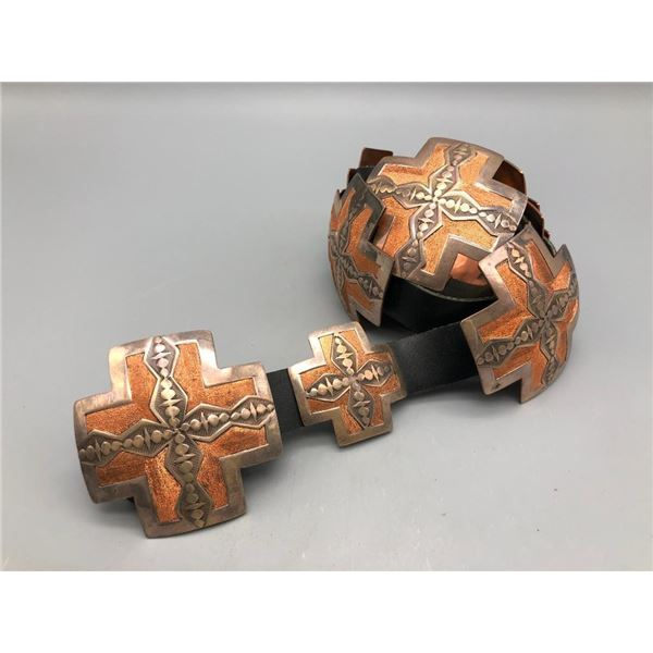 Copper and Sterling Silver Concho Belt