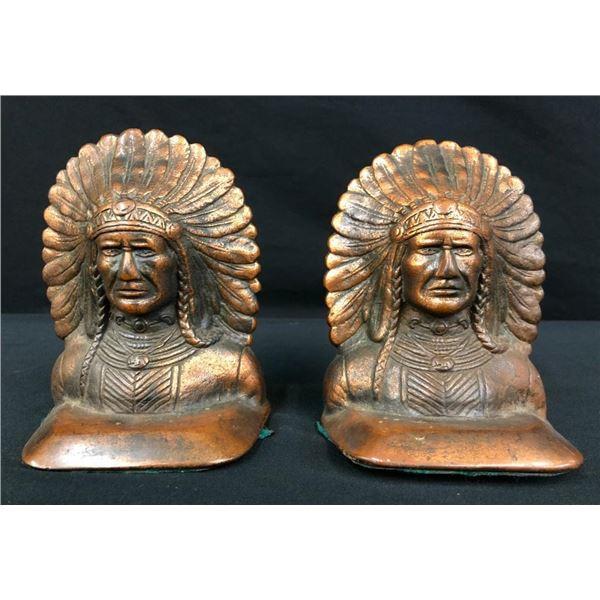 Vintage Indian Head Bronze Book Ends