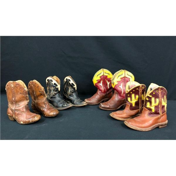 Four Pairs of Vintage Kids Cowboy Boots