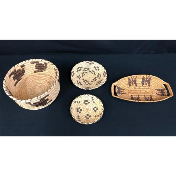 Lot of 4 Vintage Papago/Tohono O'Odham Baskets