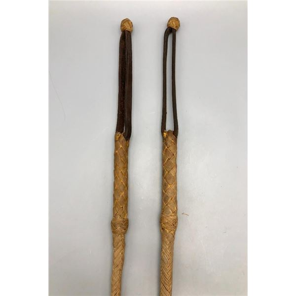 2 Vintage Handmade Rawhide and Leather Quirts
