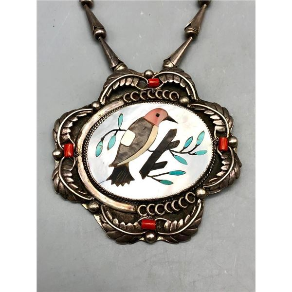 Vintage Sterling Silver Coral and Exquisite Inlay Medallion Necklace