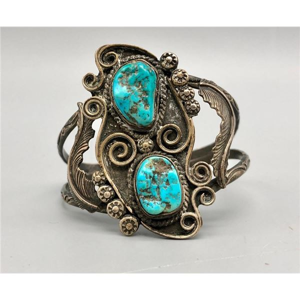 Vintage Two Stone Turquoise Bracelet