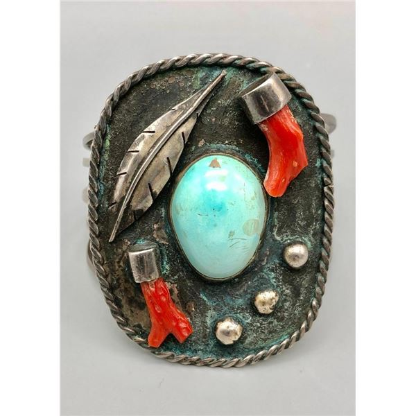 Vintage Branch Coral and Turquoise Bracelet