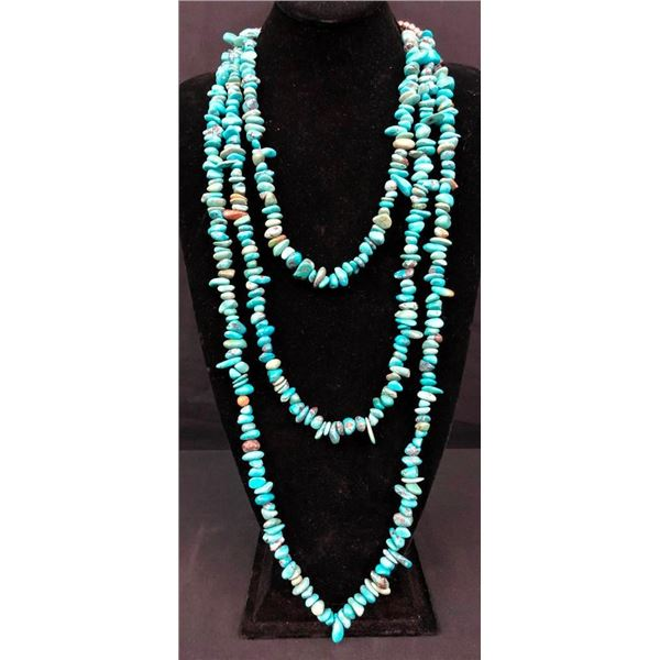 Long and Alluring Three Strand Turquoise Necklace