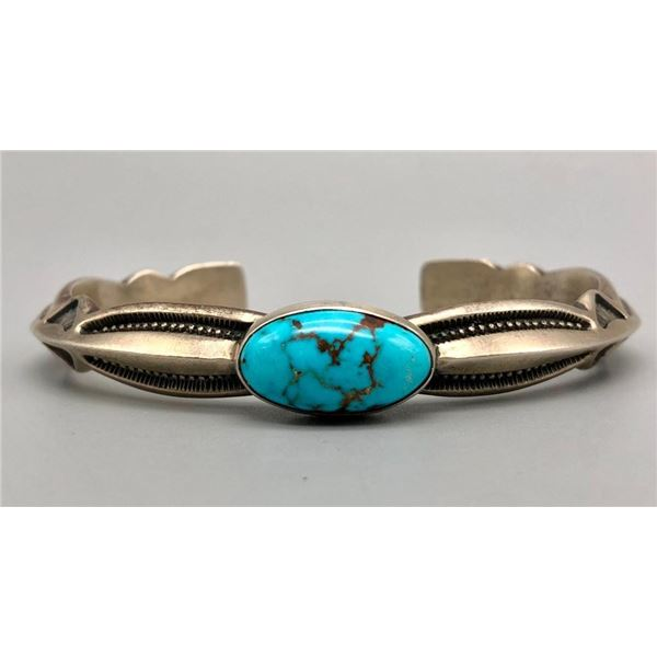 Hefty Sterling Silver and Turquoise Bracelet