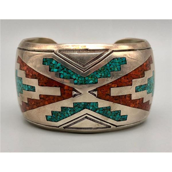 Dazzling Vintage Turquoise and Coral Inlay Bracelet