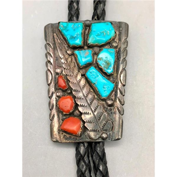 Vintage Coral and Turquoise Bolo Tie - Wayne C