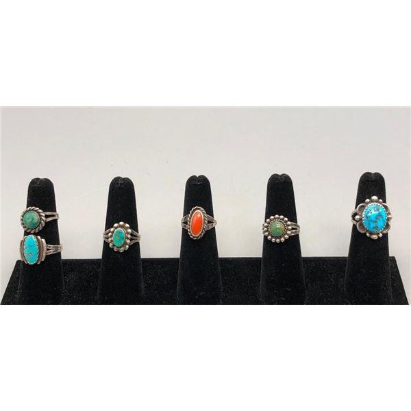 Group of Six Vintage Rings 1940s-1960s Era