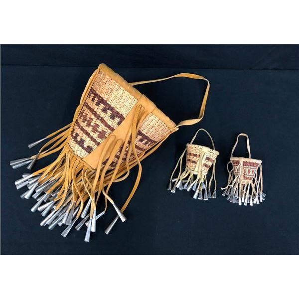 Group of Three Vintage Apache Burden Baskets