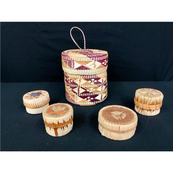 4 Birch Bark Quilled Baskets and 1 NWC