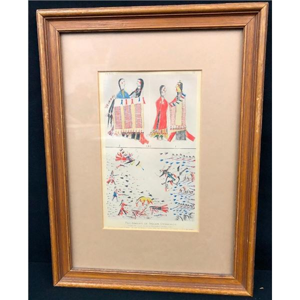 """Old Hand Tinted """"Indian"""" Drawings by Big Back"""
